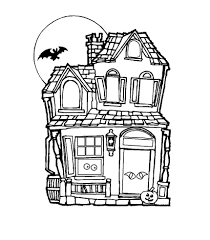 Simple Haunted House Coloring Pages 2