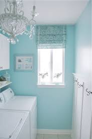 Sherwin Williams Swimming Blue And White Laundry Room With Chandelier