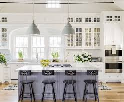 15 gorgeous white kitchens with coloured islands the happy housie