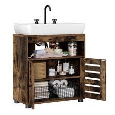 vasagle waschbeckenunterschrank badschrank 60 x 30 x 63 cm badezimmerschrank aufbewahrungsschrank unterschrank mit 2 lamellentüren mit