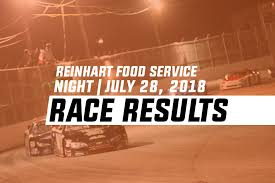 Reinhart Food Service Night Race Results | July 28, 2018 – Larry ...