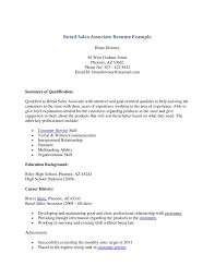 S Resume Objective For Associate Full Hd Retail Sample Example Of Ret Size