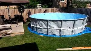 Best Above Ground Pool Floor Padding by Ground Prep And Intex Ultra Frame Pool Installation Youtube