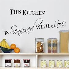 Hot Sale Kitchen With Love Home Decor Wall Stickers For Door Black Quote Words