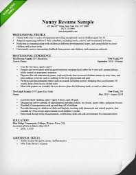 Nanny Resume Sample Writing Guide