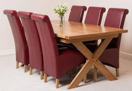 Vermont Solid Oak 200cm 240cm Crossed Leg Extending Dining Table With 6 Montana Chairs Brown Leather