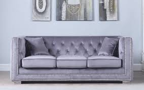 Tufted Velvet Sofa Furniture by Moliere Tufted Velvet Sofa With Nailhead Trim Sofamania Com