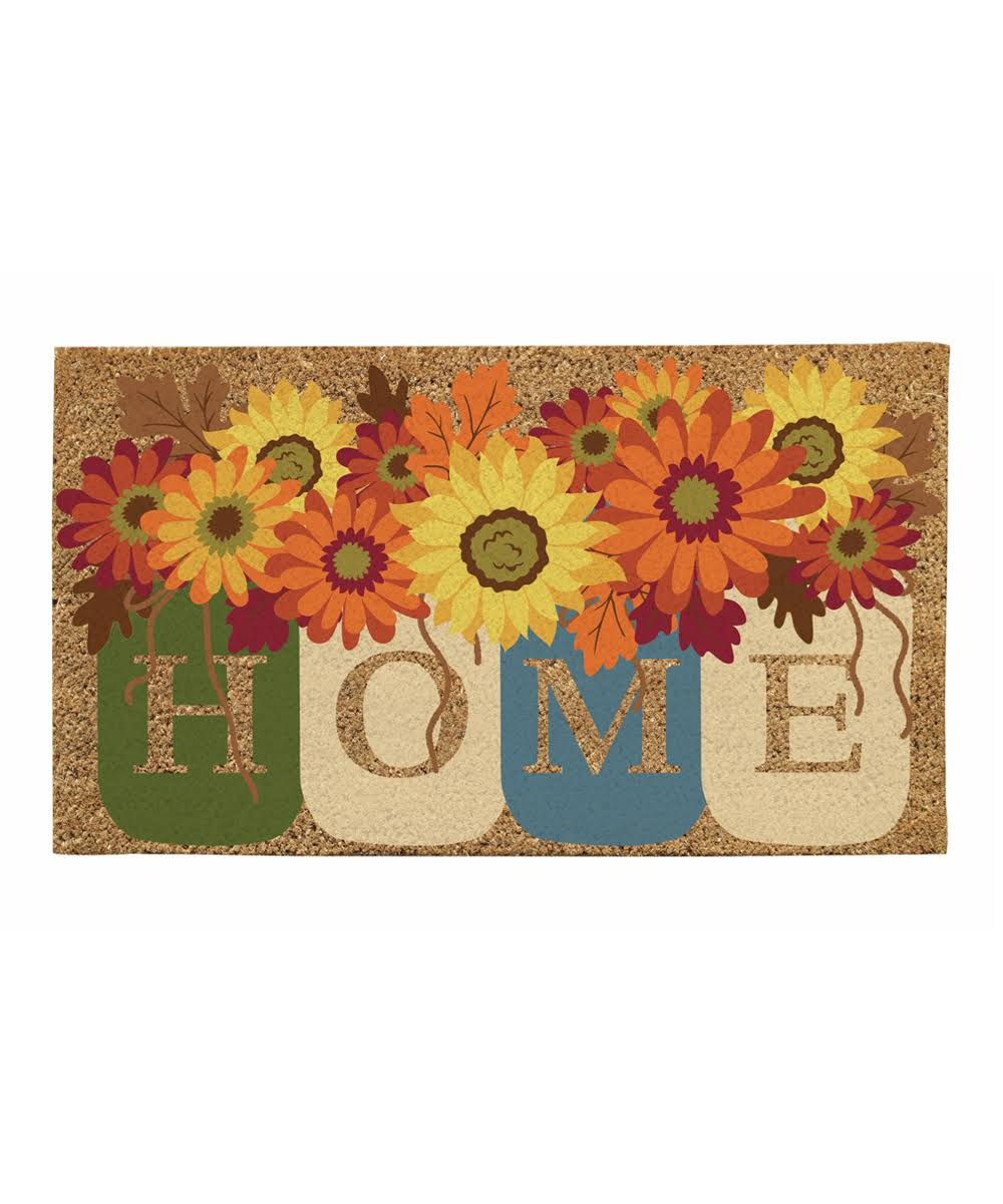 Evergreen Fall Home Mason Jars Coir Mat