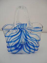 Blown Glass Pumpkins Boston by Vintage Hand Blown Glass Purse Blue Twirl Murano Style Glass