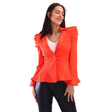 new ladies vintage puff shoulder frill button peplum blazer long