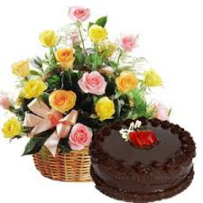 Basket of Roses with 1 2 Kg Chocolate Cake