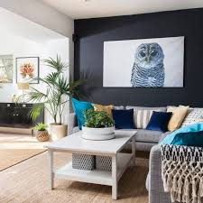 Modern Living Room With Ink Blue Walls Home Furniture Ideas
