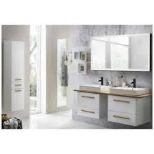 details zu badmöbel set weiß doppel keramik waschtisch led touch spiegel hochschrank bad