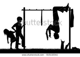 Editable Vector Silhouette Of A Man Hanging Upside Down On Childrens Climbing Frame To Get