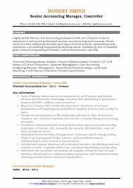 Senior Accounting Manager Controller Resume Model