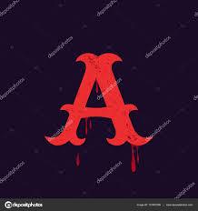Letter A Logo Vintage Slab Serif Type With Blood Splashes Stock