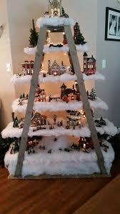 Wooden Ladder Shelf For Christmas Village Project
