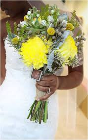 Wedding Flowers Buttercup Yellow And Grey Bridal Bouquet With