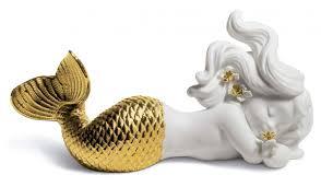 casa padrino luxus porzellan figur meerjungfrau weiß gold 16 x h 8 cm luxus wohnzimmer dekoration