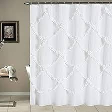 duschvorhang mit rüschen für badezimmer landhaus rustikal waschbar und wasserdicht 183 x 213 cm lang