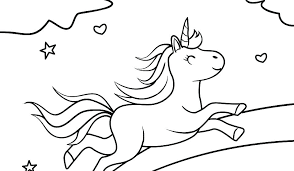 Unicorn And Rainbow Coloring Pages Color Page