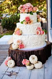 Rustic Vintage Wedding Cake With Fresh Roses And Sweet Mini White Pumpkins