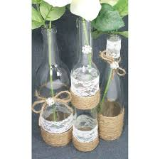Set Of 3 Jute Twine Wrapped Wine Bottles Fall Wedding Centerpieces Rustic