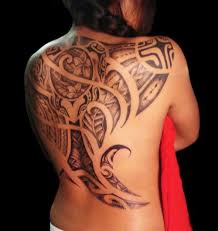 Polynesian Female Back Tattoo