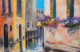 Oil Painting Canal In Venice Italy Famous Tourist Place Colorful Impressionism Stock