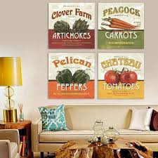 Tomatoes Peppers And Vegetables Kitchen 4 Piece Canvas Art Painting Restaurant Home Decor Office