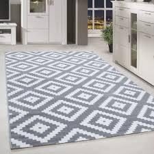 kurzflor teppich antikes karo muster grau weiss meliert wohnzimmerteppich