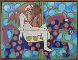 items similar to vintage mural ceramic tile godiva by