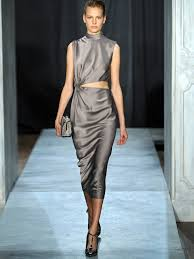 jason wu twisted cut out satin dress in gray lyst