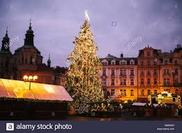 Decorated Christmas Tree Stands On The Main Square In Prague During New Year Holidays