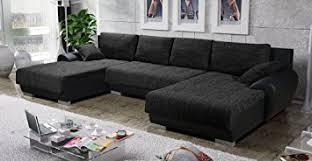 canapé tissus design canapé d angle en u convertible teren tissu noir design amazon fr