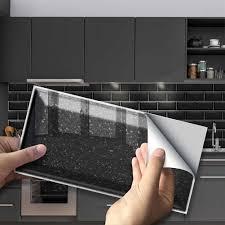9pcs schwarz terrazzo pvc lange ziegel flugzeug wand aufkleber küche bad wasserdichte türkis selbst adhesive fliesen wand dekor