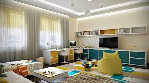 Blue Yellow Shared Kids Room Interior Design Ideas