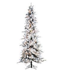 Pre Lit Flocked Christmas Tree Slim Pencil Pine Artificial Trees Vickerman Alaskan Multi Mini Lights