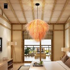 Hand Woven Bamboo Wicker Rattan Straw Pendant Light Fixture Asian Rustic Country Deco Japanese Style