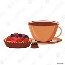 stock vector kaffee und kuchen vektor illustration heiße schokolade im becher kakao und backwaren gourmet gebäck süße süßigkeiten dessert