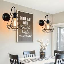 2 stück retro industrial indoodr cage diamant 20cm e27 schwarz wandleuchte le anhänger vintage beleuchtung für home cafe loft küche wohnzimmer und