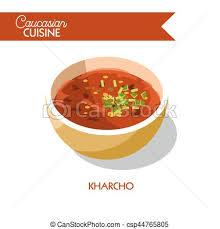 cuisine caucasienne cuisine plat géorgien kharcho soupe vecteur caucasien