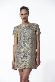 liquorish liquorish gold and blue lace dress