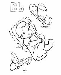Alphabet Coloring Pages Butterfly Baby And Bee