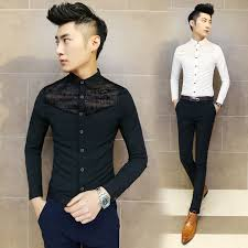 Mens See Through Shirts 2016 New Brand Lace Shirt Slim Fit Sexy Black White Men Party Club Fashion M 2XL In Casual From