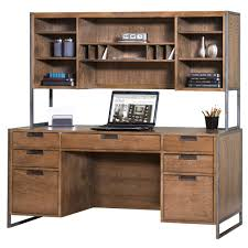 Wire Brushed Credenza With Hutch Rustic Industrial Look For Your