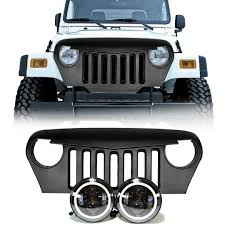 Jeep TJ - LED Projector Headlights Halo & Grille Combo Pack - LEDS 4 ... Oracle 0608 Ford F150 Led Halo Rings Head Fog Lights Bulbs Lighting 1314332 Smd Dynamic Colorshift Kit For 0814 Dodge Challenger Wpro Ccfl Headlights Installing On A 2004 Ram Pickup 8 Steps With Lumen Sb7250xxblk 7 Round Black Projector 0610 Charger Triple Color Bmw Upcoming Cars 20 2641052 Plasma Blue Lights Gone Crazy Headlights Wikipedia Jeep Wrangler Waterproof Headlight Cversion