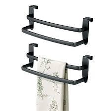 mdesign 2er set geschirrtuchhalter gebogen für die küche handtuchhalter küche zum einhängen in die küchenschranktür badetuchhalter aus metall