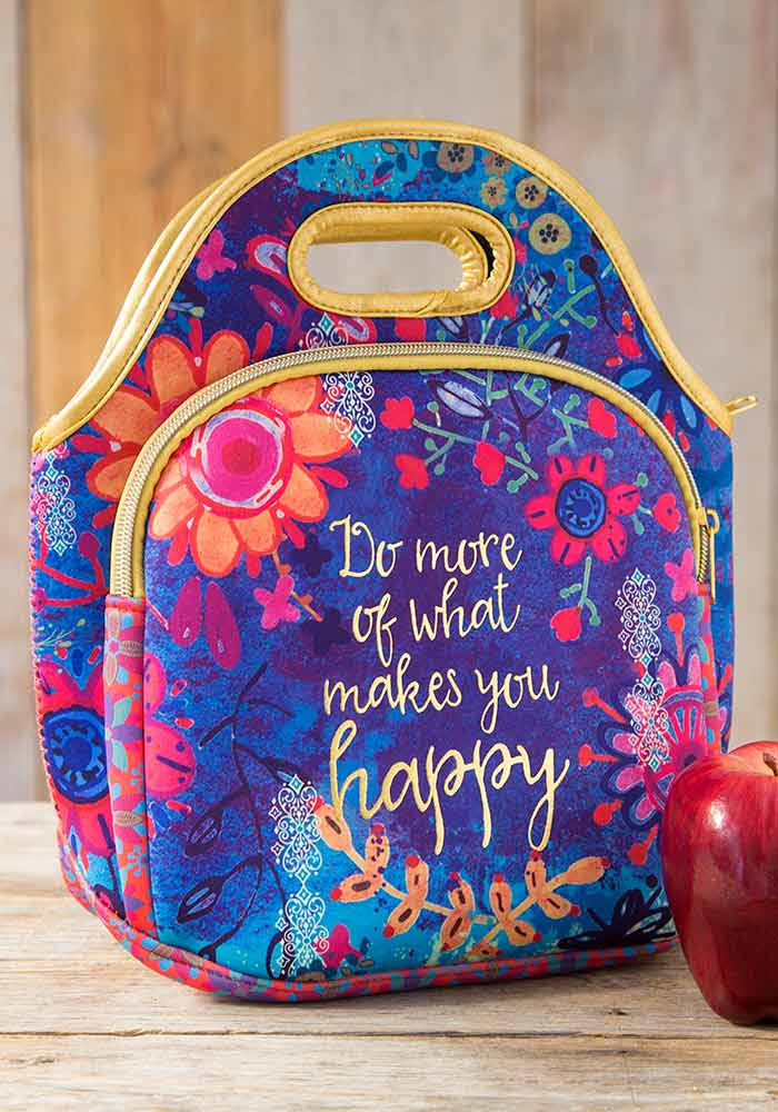 Natural Life Makes You Happy Floral Print Lunch Bag