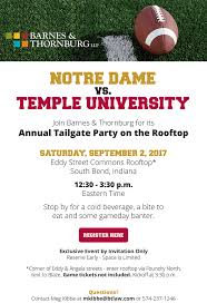 Annual Tailgate Party on the Rooftop – ND vs Temple